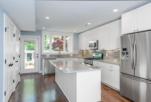Modern Kitchen with Flush, Pental Granite & Marble Naica Polished Quartzite, Flat panel cabinets, specialty door, L-shaped