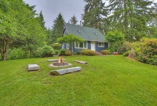 Traditional Landscape/Yard with Pathway, Casement, Fire pit, Glass panel door