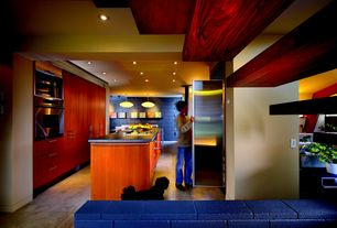 Contemporary Kitchen with Pendant light, wall oven, Built-in bookshelf, Simple granite counters, Flush, European Cabinets