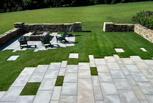 Contemporary Patio with International concepts adirondack chair, Fire pit, Limestone 4779 - pavers, Fence, Pathway