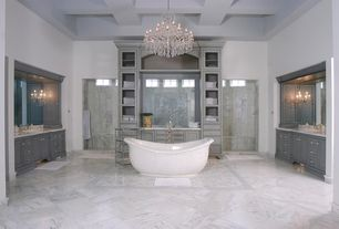 Traditional Master Bathroom with Master bathroom, Simple Marble, Vieux quartier crystal chandelier, Box ceiling, Freestanding
