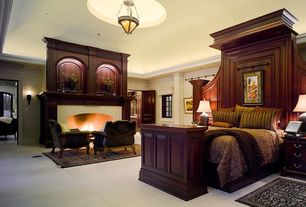 Traditional Master Bedroom with brick fireplace, can lights, flush light, Wall sconce, Cement fireplace, Crown molding