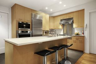 Contemporary Kitchen with specialty door, built-in microwave, full backsplash, Standard height, Paint 1, Stainless Steel