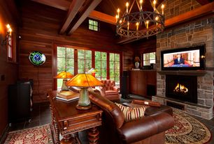 Rustic Living Room with Wood framing, Abbyson Camden Hand Rubbed Leather Pushback Recliner, slate floors, Area rug