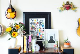 Eclectic Living Room with High ceiling, Rogue RM-100A A-Style Mandolin Sunburst, Jonathan Adler Belly Vase