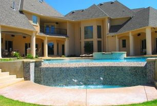 Contemporary Swimming Pool with Raised beds, picture window, exterior tile floors, Pool with hot tub, Deck Railing, Pathway