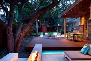 Contemporary Patio with Fire pit, Pathway, Fence, Outdoor kitchen