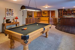 Country Game Room with flush light, Carpet, Pendant light