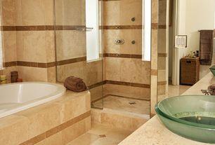 Modern Master Bathroom with Shower, frameless showerdoor, Bathtub, full backsplash, Wall Tiles, stone tile floors, Limestone