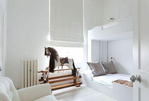 Modern Kids Bedroom with Bunk beds, Sallys Rocking Horses - Antique Rocking Horse, Hardwood floors, specialty door