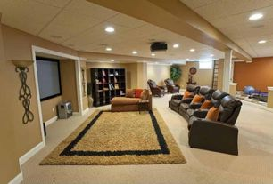 Traditional Home Theater with Carpet, Exposed beam, Columns, Built-in bookshelf