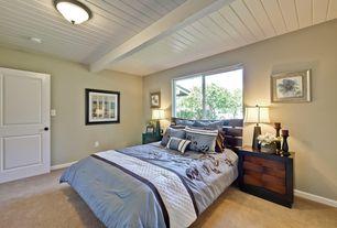 Traditional Master Bedroom with Casement, Standard height, specialty door, flush light, Exposed beam, Carpet