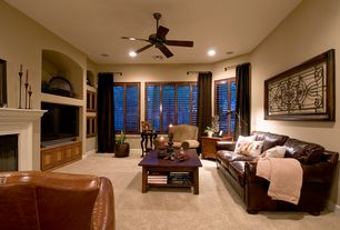 Mediterranean Living Room with Ave Six Merge Coffee Table, Simmons Upholstery San Diego Queen Sleeper Sofa, stone fireplace