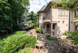 Traditional Patio with Casement, Deck Railing, exterior stone floors, Pathway, French doors