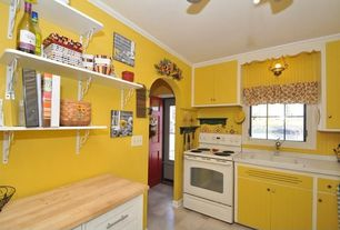 Cottage Kitchen with Paint 1, Inset cabinets, Paint 2, Standard height, Wood counters, drop-in sink, Flat panel cabinets