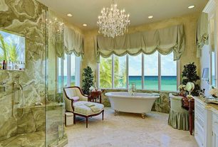 Traditional Master Bathroom with Master bathroom, Shower, can lights, Raised panel, stone tile floors, Inset cabinets