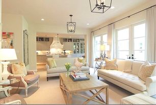 Contemporary Living Room with French doors, Chandelier, Carpet