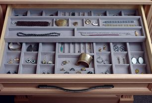 Contemporary Closet with Rhinestone cabinet hardware, Jewelry organizer drawer insert, Rev-a-shelf- undermount jewelry drawer