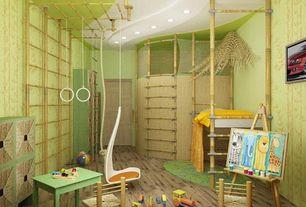 Tropical Kids Bedroom with Bunk beds, Ikea ps svinga children's hanging seat, white, Hardwood floors