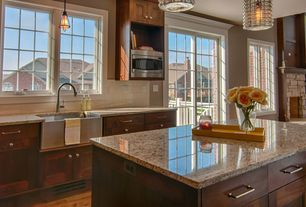 Modern Kitchen with Large Ceramic Tile, Pendant light, Casement, French doors, One-wall, Flush, Kitchen island