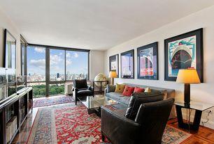Contemporary Living Room with Floral area rug, Hardwood floors, Parquet hardwood floor, Free standing globe