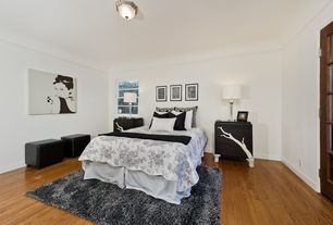 Modern Master Bedroom with Hardwood floors, Nightstand, Lenoxdale toile duvet cover, Floral bedding, Table lamp, flush light