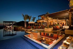 Tropical Swimming Pool with Fence, Fire pit, Infinity pool, Trellis, exterior tile floors, Pathway