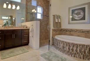 Contemporary Master Bathroom with Paint 1, double-hung window, frameless showerdoor, Undermount sink, full backsplash, Shower
