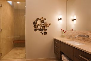 Contemporary Master Bathroom with Wall sconce, Berwick wall mounted bathroom faucet with double cross handles, Flush