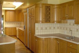 Contemporary Kitchen with dishwasher, Built In Panel Ready Refrigerator, Skylight, U-shaped, can lights, Paint 1, flush light