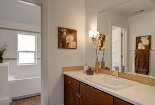 Contemporary Master Bathroom with Concrete floors, Corian counters, Master bathroom, European Cabinets, Wall sconce, Flush