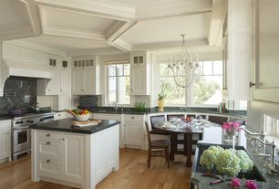 Traditional Kitchen with Tag Whiteware Porcelain Ceramic Serving Bowls, Box ceiling, Chandelier, Crown molding, Window seat