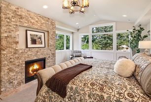 Traditional Master Bedroom with picture window, Wainscotting, stone fireplace, Carpet, Standard height, can lights, Fireplace