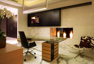 Modern Home Office with Optimum Recessed/Wall Mount Ethanol Fireplace, Cavour desk - design Carlo Molina, Paint 1, Fireplace