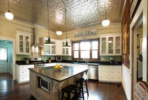 Country Kitchen with flush light, Kitchen island, Pottery Barn Tibetan Barstool, High ceiling, L-shaped, Flat panel cabinets