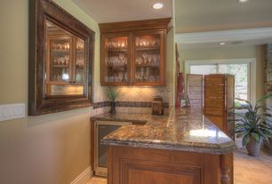Traditional Bar with Built-in bookshelf, Casement, Crown molding, sandstone tile floors, Standard height, can lights