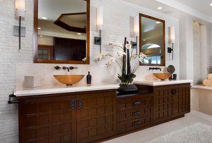 Contemporary Master Bathroom with Home Decorators Collection Kingston Wall Mirror, Vessel sink, Shoji door, Limestone, Flush