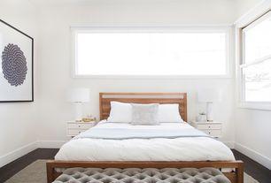 Modern Master Bedroom with Hardwood floors, West Elm - Pillar Table Lamp, Marble Base, West Elm - Mid century nightstand