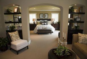 Traditional Master Bedroom with Standard height, picture window, can lights, Crown molding, Paint 1, Columns, Carpet