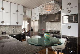 Contemporary Kitchen with Pendant light, MS International Baltic Brown  Classic Granite, U-shaped, Flush, Breakfast bar