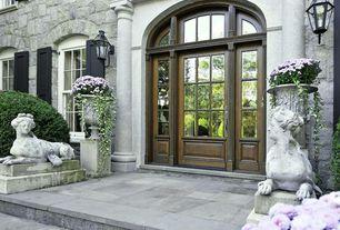 Traditional Front Door with exterior tile floors, Glass panel door