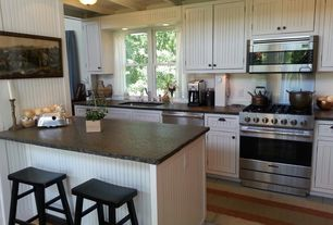 Cottage Kitchen with Beadboard cabinets, One-wall, Cabinet, Breakfast bar, Exposed beam, Inset cabinets, Flat panel cabinets