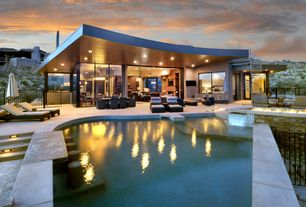 Contemporary Swimming Pool with exterior concrete tile floors, Pathway, Fence, Deck Railing, Other Pool Type, Fire pit, Gate