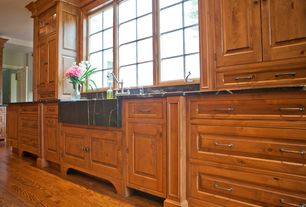 Country Kitchen with Crown molding, Armstrong Flooring - Northern Red Oak, One-wall, Casement, Raised panel, Standard height