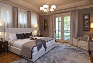 Traditional Master Bedroom with Crown molding, Paint 1, ENCHANTED AREA RUG, Chandelier, French doors, Standard height