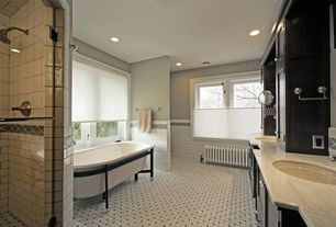 Craftsman Master Bathroom with Ms international - ivory fantasy, Ann Sacks Carrara Wicker Marble Tile, Paint 1