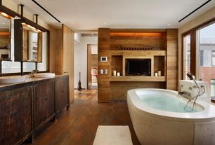 Eclectic Master Bathroom with Bathtub, picture window, Flat panel cabinets, wall-mounted above mirror bathroom light, Flush