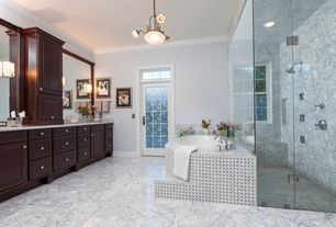 Traditional Master Bathroom with Master bathroom, Pendant light, frameless showerdoor, Undermount sink, Corian counters