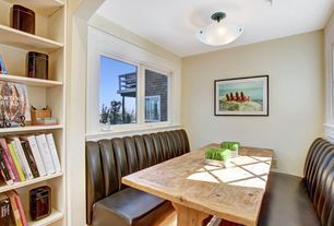 Modern Dining Room with Standard height, Window seat, Built-in bookshelf, Banquette upholstery, Paint, Banquette, flush light