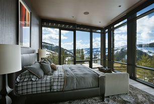 Rustic Master Bedroom with sliding glass door, High ceiling, specialty window, can lights